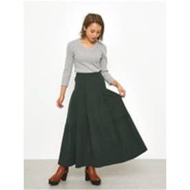 ハイウエストカラースカート M/グリーン