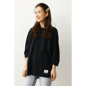 バックVネックBigロングTシャツ (ブラック)