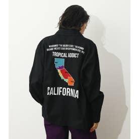 CALIFORNIAミリタリーロールアップシャツ (ブラック)