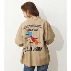 CALIFORNIAミリタリーロールアップシャツ (ベージュ)