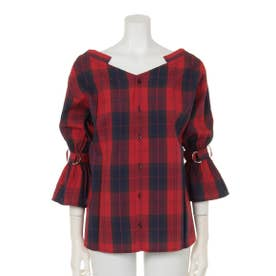 CHECK 2WAY OFF SHOULDER トップス (柄RED)