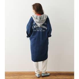 フード付きmilitaryロングシャツ (ブルー)