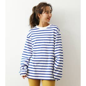 SHARE LOOSE BORDER L/S Tシャツ 柄BLU5