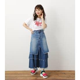 レイヤードデニムマキシスカート L/BLU1