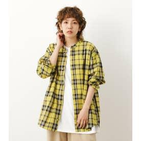 ノーカラーBIG チェックシャツ 柄YEL5