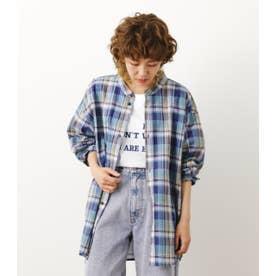 ノーカラーBIG チェックシャツ 柄NVY5
