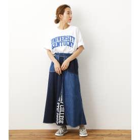 リメイクロングスカート 柄BLU5