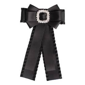 ビジューフリルリボンブローチ (ブラック)