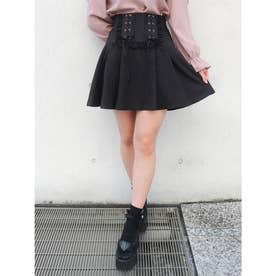 レースアップリボンスカート (ブラック)