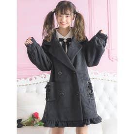 裾フリルテーラードコート (ブラック)