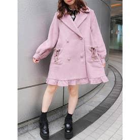 裾フリルテーラードコート (ピンク)
