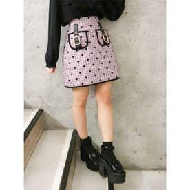 ハートキルティング台形スカート (ピンク)