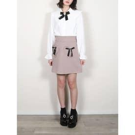 ハートポケット台形スカート (ピンク)