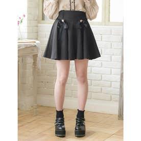 リボンブローチサーキュラースカート (ブラック)