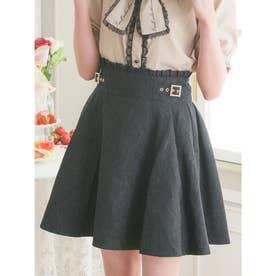 サイドベルトフラワーボンディングスカート (ブラック)