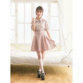 サイドベルトフラワーボンディングスカート (ピンク)