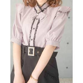 飾りリボンスタンドカラー半袖ブラウス (ピンク)