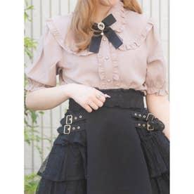 フリル衿ブローチ付き半袖ブラウス (ピンク)