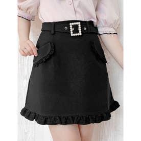 フラップポケット台形スカート (ブラック)