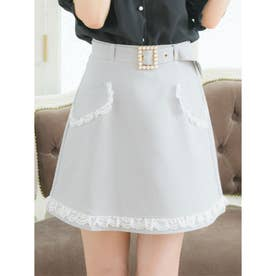 フラップポケット台形スカート (グレー)