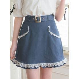 フラップポケット台形スカート (インディゴ)