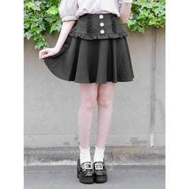 ビジュ釦スカート (ブラック)