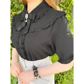 フリル衿ブローチ付き半袖BL (ブラック)
