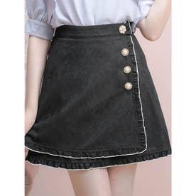ビジュ釦ラップスカート (ブラック)
