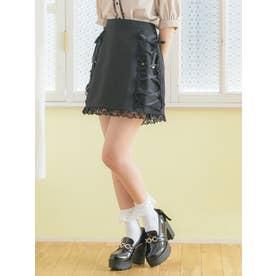 サイドレースアップ台形スカート (ブラック)
