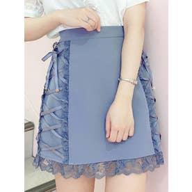 サイドレースアップ台形スカート (ブルー)