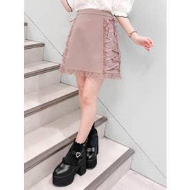 サイドレースアップ台形スカート (ピンク)