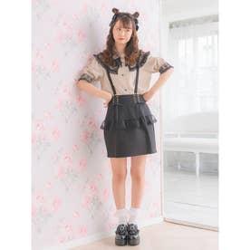 サス付チュールペプラムタイトスカート (ブラック)