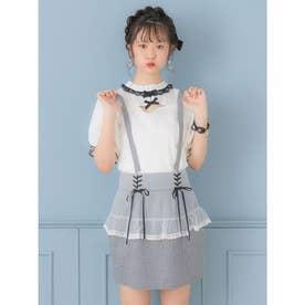 サス付チュールペプラムタイトスカート (グレー)