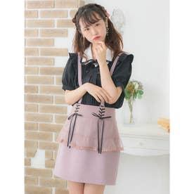 サス付チュールペプラムタイトスカート (ピンク)