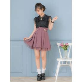 裾チュールスクエアビジュバックルスカート (ピンク)