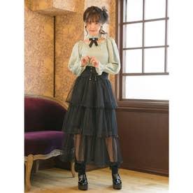 3段チュールティアードスカート (ブラック)