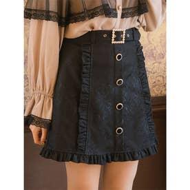 レースボンディング台形スカート (ブラック)