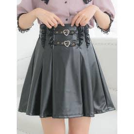 Wハートバックルフレアスカート (ブラック)