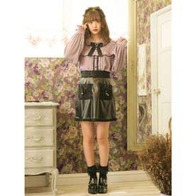 リボンポケット台形スカート (ブラック)