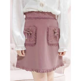 リボンポケット台形スカート (ピンクブラウン)