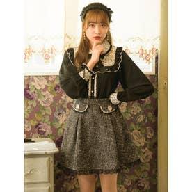 パールフラップツイードスカート (ブラック)