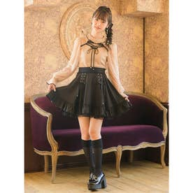 レースアップ裾ボリュームスカート (ブラック)