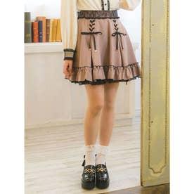 レースアップ裾ボリュームスカート (ピンク)