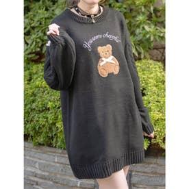 クマ刺繍ケーブルニット (ブラック)
