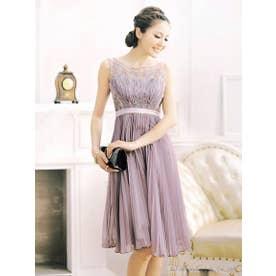 プリーツシフォンワンピースドレス(S?XL) (ローズグレー)