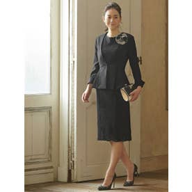 レーシーワンピースセットアップスーツ (ブラック(B))