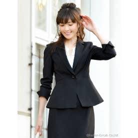 \ 安座間美優 着用 /キャリアセットアップスーツ(ジャケット+スカート)(7号~15号) (ブラック(無地)(B))
