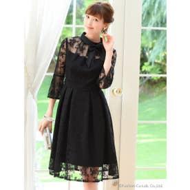 クチュールレースリボンワンピースドレス(7号~13号) (ブラック(B))