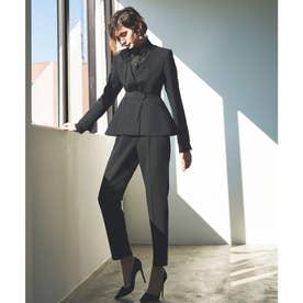 タック&ペプラムジャケットセットアップスーツ (ブラック)