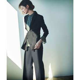 ウエストリボンジャケットパンツスーツ (ブラック)
